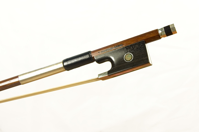 Image of Silver Mounted Violin Bow by T Pampolin, Brazil