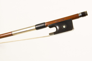 Nickel and ebony mounted cello bow by Marco Raposo, Brasil